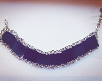 Vinyl Record Black Choker with Silver Color Chain, Vinyl Record Jewelry, Vinyl Record Fashion