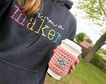 Crochet Coffee Cozy / Instagram Cozy / Photographer Cozy / Camera Cozy / Reusable / Eco-friendly