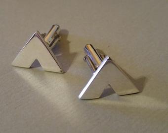 Sterling Silver Cufflinks | Silver Cufflinks |  Chevron cufflinks | Polished Cufflinks | Chunky Cufflinks | Frederickmaijeweller
