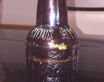 FT1 Vintage Cowboy Sarsaparilla Soda Pop Bottle Dark Brown Amber Glass.