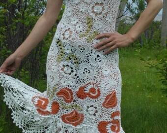 Dress, knit, crochet, Irish lace.