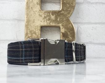 Chocolate Brown Tartan dog collar – Designer dog collar – adjustable length