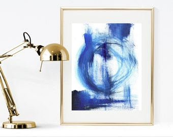 Instant download abstract painting, printable blue abstract art, blue wall art print, blue acrylic abstract painting print