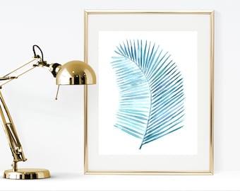 Areca palm leaf watercolor print, printable watercolor instant download print, printable botanical palm leaf print, blue print, leaf print
