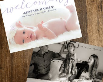 5x7in Photo Birth Announcement - Welcoming (cursive), 2-photo