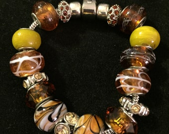 Beautiful Honey or Amber Colored Glass Euro Bead Bracelet. Handcrafted, perfect gift.