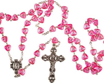 Heart Shaped Pink Rosary Beads. Hand Made Rosary. Lovely Girl's Rosary Beads. Perfect Holy Communion Gift