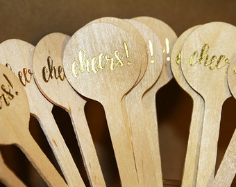 Cocktail Stir Sticks {set of 12} - Cheers Gold Foil