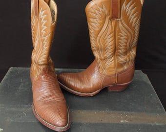 Vintage Cowboy or Cowgirl Western Boots Dan Post - Lizard Skin Look Dark Tan Leather  - 9D size - Rockabilly shoes