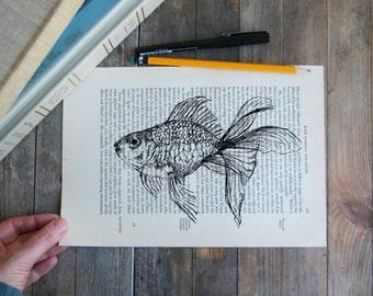Goldfish print, Dictionary art, Nautical print, Sealife clip art, Book art, Hipster room decor