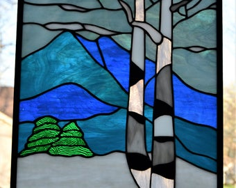 Stained glass panel of birch trees in winter mountains 16 x 12