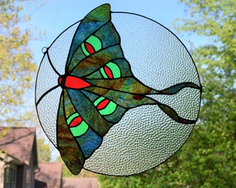 Stained glass luna moth suncatcher, red, green, blue 11 x 12