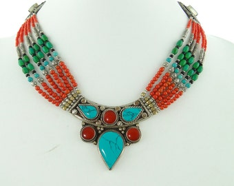 Turquoise Pendant Necklace,  Turquoise and Coral,  Coral Statement Necklace,  Turquoise Jewlery, Tibetan Jewelry