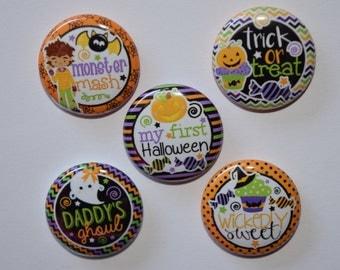 "Halloween, Monster, Trick or Treat bottlecap image 1"" buttons, flatback, pin, or magnet. Set of 10 #129"