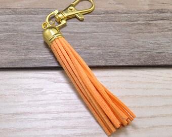 3pcs Long Tassels Keychains,Light Orange Suede Leather Tassel,Gold Plastic Cap,Gold Metal Key Clasp,Keychain Tassels Pendant,Tassel Bag