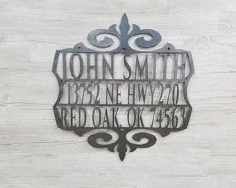 Mailbox Name & Address Sign (Home Decor, Wall Art, Metal Art)