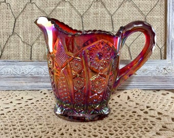 Vintage Indiana Carnival Glass Amberina - Red Sunset Iridescent - Heirloom Pattern - Paneled Daisy Creamer Pitcher  - Hobstar and Arches