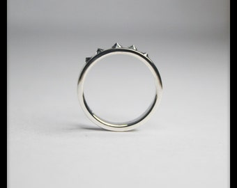 JR3. Sterling Silver Handmade Spike Ring, Band Ring, Midi Ring with Five Cubic Zirconia Stones