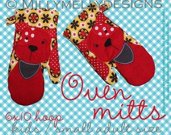 6x10 hoop - Oven Mitts - DOG - ITH - In The Hoop - Machine Embroidery Design File, digital download