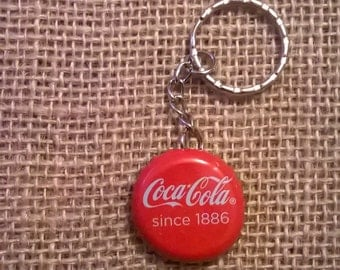 Upcycled cola bottle cap keyring