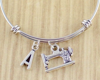Singer Sewing Machine Bangle Bracelet || Sewing Bracelet || Sewing Gift | Sewing Jewelry w. choice of initial charm | Seamstress Gift Ideas