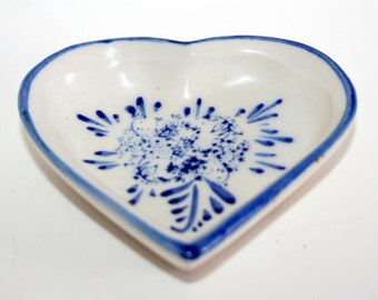 Vintage Nobel Ball, Delft ceramic, Ring dish heart shaped, Blue and white