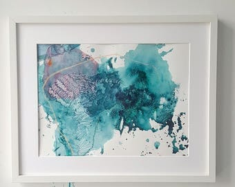 Abstract painting, framed, acrylic and pastel