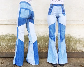 Vintage 70s Faded Glory High Waited Denim Patchwork Flare Leg Side Zippers Hippie Bell Bottoms Jeans 25 x 33