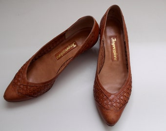 Grammarian Shoes | vintage tan woven leather heels size 8.5