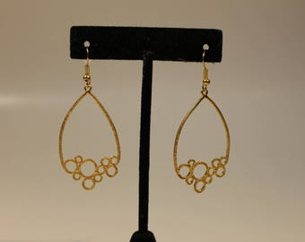 gold tone chandelier circles earrings