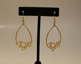 gold tone chandelier circles earrings