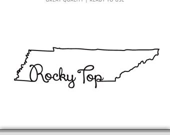 Tennessee Rocky Top State Outline Graphic - Rocky Top SVG - Tennessee SVG - Ready to Use!
