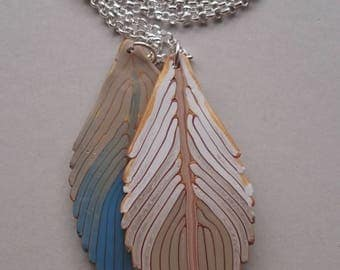 Blue Polymer Clay Feathers Necklace (#0002)