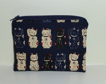 Lucky Cat Coin Purse, Lucky Cat Make Up Bag, Lucky Cat Bag, Chinese Lucky Cat, Make up Bag, Lucky Cat Crystals Bag, Chinese New Year Gift