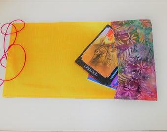 Angel Card Bag, Tarot Card Bag, Silk Tarot Card Wrap, Batik Tarot Bag, Batik Fern Cotton Tarot Wrap, Tarot Card Pouch, Angel Card Wrap