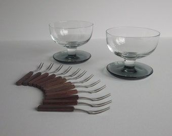2 Glass Bowls with Smoked Glass bases, and a set of 12 Party Forks – perfect for olives / Tapas.