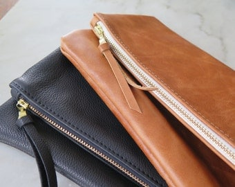 Black Leather Foldover Clutch. Evening Clutch. Leather Bag.