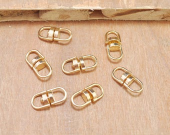 50pcs Gold Swivel Key Ring Connectors Perfect for Key Chain Designs--18x8mm