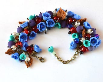 flower bracelet gift idea|for|her blue jewelry rose bracelet jewelry gift floral bracelet romantic jewelry colorful bracelet spring jewelry