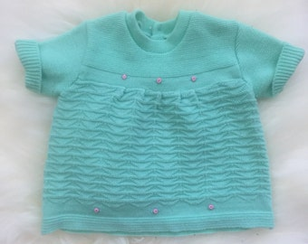 Vintage 70's acrylic mint green tunic top toddler