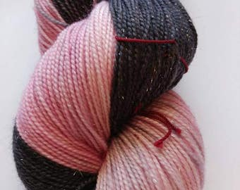 Hand dyed yarn, 100 g fingering weight, superwash merino, sparkle, black, pink, and gray, Daddy's Little Girl