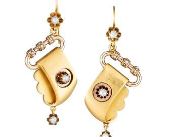 Earrings Vintage Antique | 14 karat split pearls | dangling drop. Circa 1870.