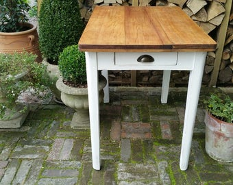 Vintage Rustic Painted Pine Country Farmhouse Kitchen Table