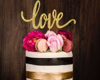 READY to ship 2-3 business days, Gold cake topper, wedding cake topper, love cake topper