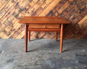 Mid Century Danish Small Refinished Teak Side Table