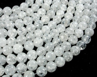 Crackle Clear Quartz Beads, 8mm Round Beads, 15 Inch, Full strand, Approx 47 beads, Hole 1mm (198054022)