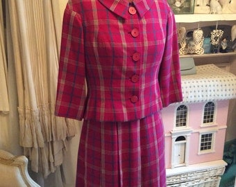 Immaculate 1950s plaid wool dress suit