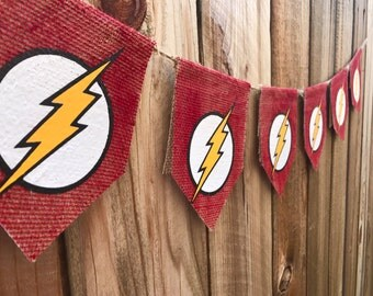 The flash banner , superhero banner,the flash burlap banner, superhero, red burlap