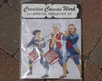Drummer Corps, Handprinted Needlepoint Kit by Elsa Williams, Patriotic Scene, American Heritage,  Revolutionary Drummer,  Rare, Vintage, New