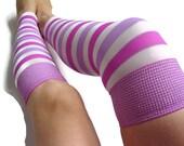 Dance socks, yoga wear, teen girl clothing, shine leg warmer, striped tights, line socks, purple white disco, footless socks, high knee sock